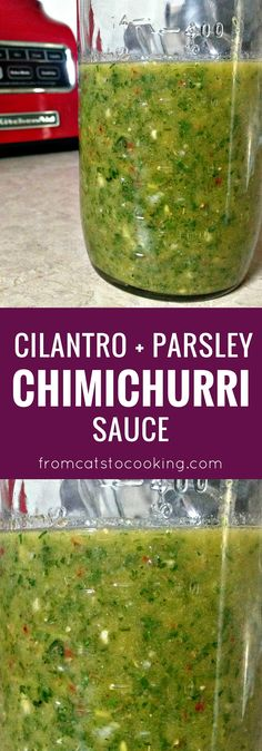 Cilantro and Parsley Chimichurri Sauce recipe. This sauce is perfect to serve on top of steak or seafood. Is also gluten free, whole 30, paleo and vegetarian friendly. Click through for the recipe or pin this for later!
