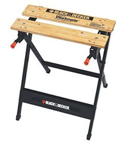 BLACK+DECKER W x H Wood Work Bench at Lowe's. With the ability to hold up 350 pounds, the Workmate® Work Bench with Vise is a great addition to any workshop. Features a durable steel frame and Portable Workbench, Folding Workbench, Workbench Plans, Woodworking Bench, Woodworking Tools, Easy Garage Storage, Garage Organization, Tool Storage, Portable Projector Screen