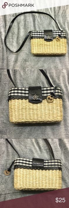 BRIGHTON STRAW WICKER PURSE SHOULDER BAG Brighton straw bag is too cute with the picnic style black and white cloth.   I'm really good condition, only issue is on bottom in last photo there is a small piece of straw/wicker that is busted but not falling apart or affecting the purse!  Measurements are all taken in inches:  Length: 9 1/4 Width: 3 Height: 6  Ask any questions! Like for the best deals🤳🏼🎊 Brighton Bags Shoulder Bags