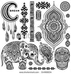 Set of ornamental Indian elements and symbols - stock vector