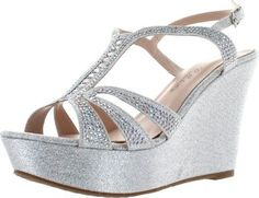1dcfd19f2b9 De Blossom Collection Womens Aria-1 Dress Wedge Sparkle Party Sandals
