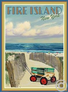 Fire Island Wagon Vintage Art Deco Style Travel Poster by Aurelio Grisanty Fire Island Ny, Long Island Ny, Island Life, Retro Art, Vintage Art, East Coast Beaches, New York Harbor, Tourism Poster, Beach Posters