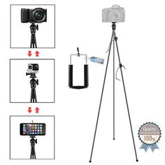 Phone Camera Stand Tripod ZIPPOD 45 Inch Flexible And Compact Camera Tripod 10 Oz Lightweight Travel Tripod With Phone Tripod Mount Adapter For Iphone 6 Smartphone And DSLR Camera With Carry Bag * Check out the image by visiting the link.(It is Amazon affiliate link) #l4l
