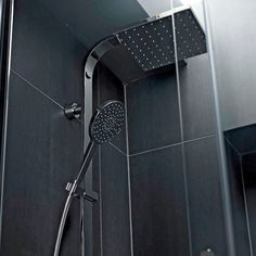 Large black tiles and a water saving shower head Water Saving Shower Head, Shower Head With Hose, Shower Heads, Modern Traditional, Traditional Bathroom, Washroom, Master Bathroom, Black Tiles, Floor Ceiling