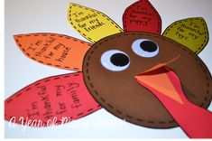 "simple and cute turkey craft....students ""stuff"" their turkey with thankful thoughts by writing what they are thankful for on the feathers"