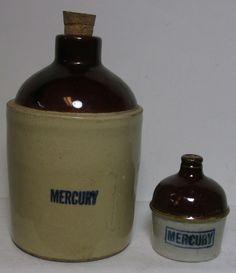 #antique 2 RARE ANTIQUE STONEWARE MERCURY JUGS - FOR REFINING GOLD !!! please retweet