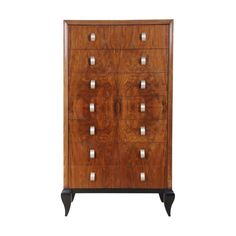 French Art Deco Walnut Tall Chest of Drawers