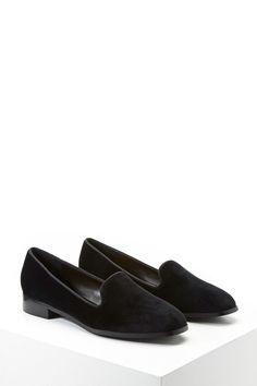 Velvet Square-Toe Loafers