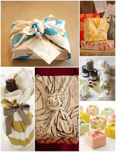 DIY:: Cloth Gift Wrapping Ideas -  May know someone who likes fabric