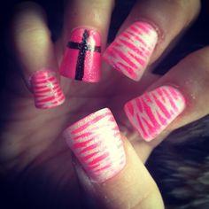 zebra and cross nails.