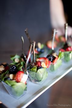 Mini salads perfect fo those who like to keep it light where its almost imposible: at parties