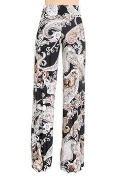 High Waist Fold Over Wide Leg Gaucho Palazzo Pants (Black/Brown Paisley) Black Palazzo Pants, Printed Palazzo Pants, Boho Outfits, Cute Outfits, Fashion Outfits, Fashion Pants, Boho Fashion, Cute Pajamas, Next Fashion