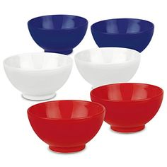 d51acacb1b Amazon.com: Waechtersbach Fun Factory Cereal Bowl, Red, White and Blue, Set  of 6: Kitchen & Dining