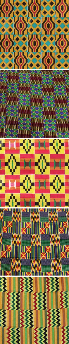 African Kente Cloth - Handmade African Kente fabrics perfect for sewing home decor, curtains and clothing items.  Kente cloth displays the bright colors of Africa and the bold patterns that celebrate African artisan traditions.  Each fabric is 100% cotton and is versitile enough to be used for a wide variety of sewing projects.  Choose from many colors of kente cloth.  #kente #africa #african #pattern #sewing #surfacedesign #sew #fashion #blackhistorymonth #africanfashion #designer #design