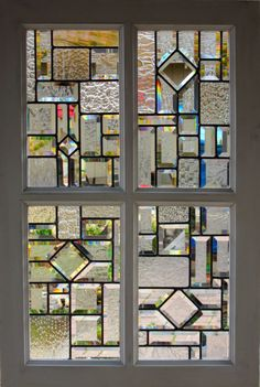 4 Paned Framed Beveled Stained Glass Window 2 by DebsGlassArt, $375.00