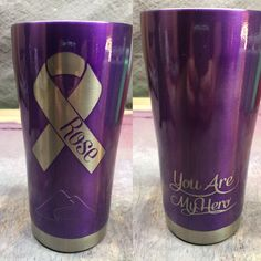 Cancer Ribbon Custom Powder Coated Cups! No Stickers No Vinyl! 100% Powder Coat! Need a Cup, Hit me Up! The Cup Plug!