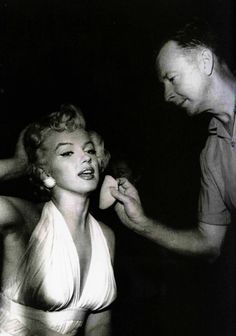 "Whitey Snyder applying Marilyn Monroe's makeup for ""The Seven Year Itch"" 1955"