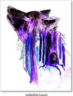 Abstract Wolf Sketch - Artwork  - Art Print from <a href='https://www.freeart.com' target='_blank'>F
