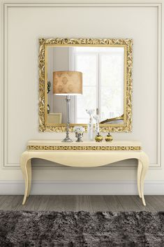 Superb attention to detail, this curvaceous design provides a sophisticated addition to your interior design. The Luxury Cream Lacquered Gold Leaf Console Table at Juliettes Interiors is made of solid cherry wood which is finished with a luxuriously smooth cream lacquer together with hand carved gold leaf details. Striking in any setting!