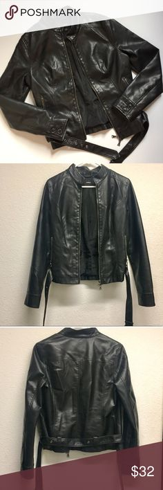 """Faux Moto Leather Jacket Express leather moto jacket. Faux leather. Zipper detail. Great condition. Size medium.   Measurements: 18"""" chest, 23"""" length and 29"""" arm length  *NO TRADES*                                                             ⭐️Use the """"Buy Now"""" or """"Add to Bundle"""" button for Purchasing. 10% off bundling available. ⭐️ Express Jackets & Coats"""