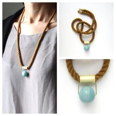 Cognac japanese mokuba cord necklace with one brass tube (mate finish) and amazonite stone Washer Necklace, Cord, Tube, Brass, Japanese, Jewelry, Fashion, Moda, Electrical Cable
