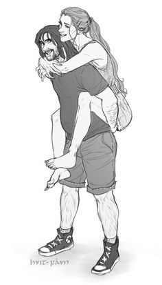 'Hey Tauriel, is this okay I have to carry you if you're taller than me?'  'For God's sake, Kili. Be a man! Maybe I'm taller but for certain I'm lightest than you about few times. How you can imagine me carrying you?'  'I'm not telling you have to carry- wait… Are you trying to say I'm fat?'  'Me? Never!'  'Tauriel!'