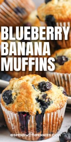 These Blueberry Banana Muffins are filling and full of fresh fruit. Perfect for breakfast, lunch, or a quick after school snack! #spendwithpennies #blueberrybananamuffins #recipe #breakfast #easy #best Healthy Blueberry Muffins, Healthy Muffin Recipes, Blue Berry Muffins, Healthy Blueberry Recipes, Mini Muffins, Banana Nut Crunch, Banana Dessert Recipes, Banana Recipes Easy, Simple Muffin Recipe
