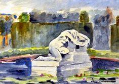 LAURA CLIMENT. BARCELONA Parc de la Ciutadella Barcelona, Watercolor, Urban, Drawings, Gardens, Painting, Art, Watercolor Painting, Painting Art