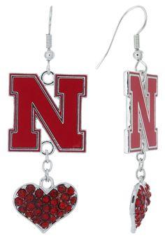 Red Nebraska N Love Fish Hook Earrings with Red Hearts