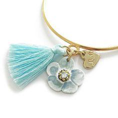 """LULI Art Bijoux - bracciale """"Gypsy Flora"""" - shop online http://shop.luliartbijoux.com/product/bracciale-gypsy-flora  #tassel #gioielli #bracciali #bracciale #azzurro #blu #detail"""