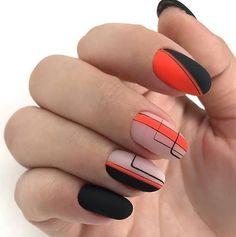Nail Arts Fashion Designs Colors and Style Matte Nails, Acrylic Nails, My Nails, Sassy Nails, Trendy Nails, Nail Polish Trends, Nail Polishes, Lines On Nails, Geometric Nail