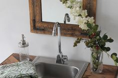 Reclaimed Wood Mirror  18x24  Bathroom Mirror by HurdandHoney, $110.00