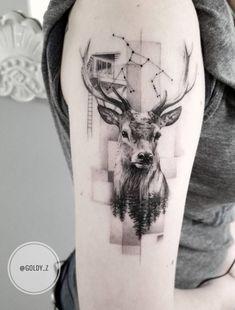 State-of-the-art Fine Line Realistic Tattoos by Zlata Kolomoyskaya - awesome fine line deer tattoo © tattoo artist Zlata Kolomoyskaya 💓💓💓💓💓💓 - Hirsch Tattoos, Hirsch Tattoo Frau, Body Art Tattoos, Sleeve Tattoos, Fox Tattoos, Tatoos, Redwood Tattoo, Karten Tattoos, Animals Tattoo