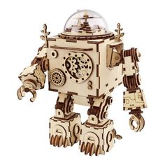 Creative DIY Steampunk Robot Wooden Puzzle Game Assembly Music Box Toy Gift for Children Teens Adult 3d Puzzles, Wooden Puzzles, Wooden Boxes, Robots Steampunk, Steampunk Diy, 3d Laser, Laser Cut Wood, Laser Cutting, Toy Craft