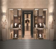 Jewellery Shop Design, Jewellery Showroom, Jewellery Shops, Jewelry Stores, Exterior Design, Jewelery, Interiors, Shopping, Home Decor