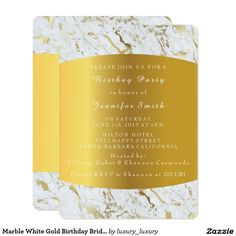 Marble White Gold Birthday Bridal Party 13 Cm X 18 Cm Invitation Card