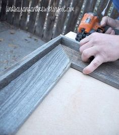how to make a rustic frame from fence pickets--omg, I just did this out of my head...and found this better design...but the fence posts work AWESOME!!!