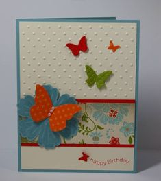 Stampin Up Card, butterflies embosslit & Blossom punch