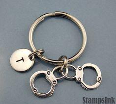 Handcuffs Keychain Manacles Keychains Handcuffs by StampsINK
