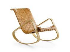 Petit fauteuil à bascule en cuir tannée avec accoudoirs DONDOLO | Petit fauteuil à bascule - Crassevig