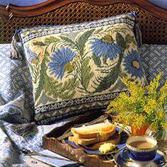 Beautiful Needlework Pillows: Peacock Tile