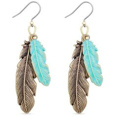 Lucky Brand  Gold-Tone Patina Feather Drop Earrings (8.807 KWD) ❤ liked on Polyvore featuring jewelry, earrings, gold, bohemian earrings, boho jewelry, long feather earrings, earring jewelry and gold tone drop earrings