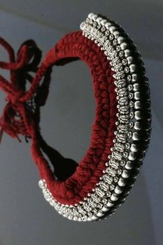 37 Beautiful Threaded Anklet Designs – Love Your Ankle Silver Jewellery Indian, Wholesale Silver Jewelry, Tribal Jewelry, Gold Jewelry, Jewelry Ads, Diamond Jewelry, Indian Bangles, Thread Jewellery, Fabric Jewelry