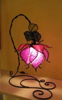 Custom Made/ Hand Made Italian Purple Rose Lamp