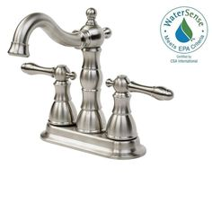 Glacier Bay Lyndhurst 4 in. Centerset 2-Handle Bathroom Faucet in Brushed Nickel-67112W-8004 - The Home Depot