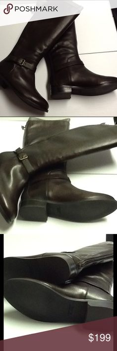 Cole Haan Chestnut Brown Riding Boot New without original box. Made by Cole Haan with the style name of Sonoma in a rich chestnut brown color. Leather upper with rubber sole. Polished buckle at ankle with a rear zipper. Heel is 1.25 inches. Cole Haan Shoes Heeled Boots