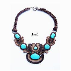 Turquoise & Brown beautifull Soutache Necklace por MrOsOutache