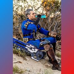 """""""I've got a quantum in my sights."""" Who knew the number 76 was so popular! Love this mashup of a vault dwelling soldier 📷:… Fallout Cosplay, Fallout Art, Soldier 76, Vaulting, Fan Art, Number, Popular, Baseball Cards, History"""