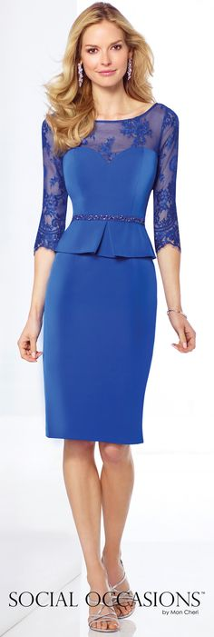 Short Evening Dresses by Mon Cheri - Spring 2017 - Style No. 117819 - royal blue short evening dress with illusion lace sleeves and neckline