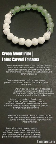 Green Aventurine is known as the good luck stone. It comforts, harmonizes, protects the heart, and can help attract love later in life. It is one of the premiere stones to attract luck, abundance and success. Green Aventurine. Lotus.  ..…..#Beaded #Bracelet #Yoga #Chakra #Charm #Mala #Stretch #Meditation #Jewelry. Energy Healing #Crystals #Stacks  #pulseiras #Bijoux .#Handmade #Reiki #Mala #Buddhist #Mens #Womens